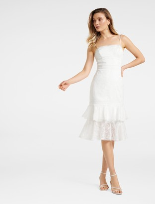 Forever New Alette Tiered Lace Midi Dress - Porcelain - 4