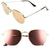 Ray-Ban Women's 54Mm Hexagonal Flat Lens Sunglasses - Gold/ Blue