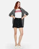 Express Snap Button A-Line Mini Skirt