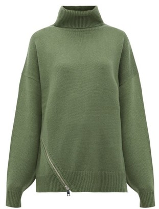 Tibi Side-zip Cashmere Sweater - Womens - Green