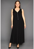 Karen Kane Plus - Plus Size Button Up Maxi Dress (Black) - Apparel