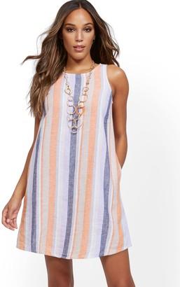 New York & Co. Stripe Sleeveless Linen Blend Dress
