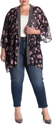Dr2 By Daniel Rainn Drawstring Floral Open Front Kimono (Plus Size)