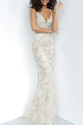 Jovani Embellished Plunging Neckline Gown