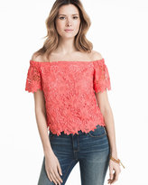 White House Black Market Off-the-Shoulder Lace Crop Bodice Top