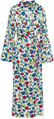 Yolke Floral-print Stretch-silk Satin Robe