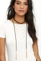 LuLu*s Got it All Black and Gold Necklace