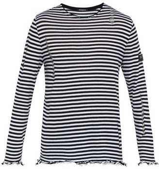 Balmain Distressed Striped Cotton Sweater - Mens - Black