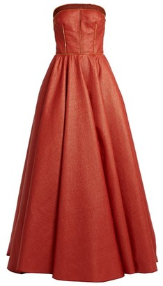 Sophie Theallet Rust Bandeau Woven-raffia Gown - Red