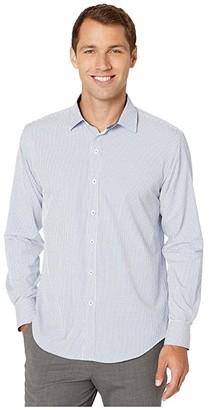 Bugatchi Performance Oskar Shaped Fit Woven Shirt (Navy) Men's Clothing