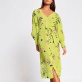 River Island Lime floral tie waist midi dress