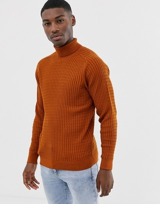 Selected chunky cable knitted roll neck in caramel-Tan