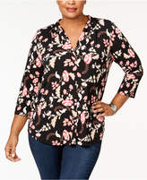Charter Club Plus Size Printed V-Neck Tunic, Created for Macy's