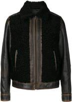 Prada fur panel leather jacket
