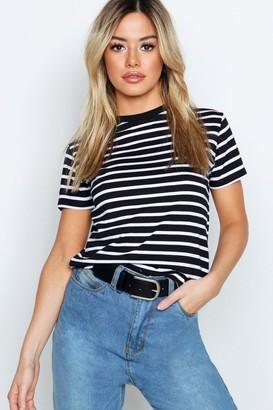 boohoo Petite Cotton Stripe Raw Hem Cropped T-Shirt