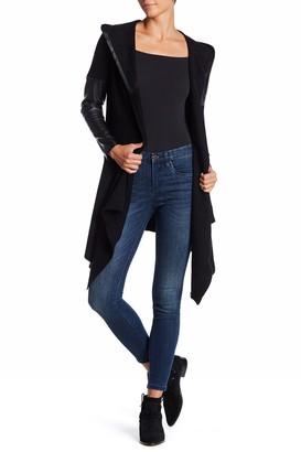 Blank NYC Blanknyc Denim Faux Leather Trim Long Hooded Jacket