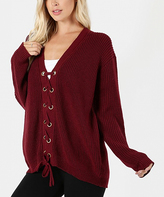 Jane Dark Burgundy Lace-Up Sweater