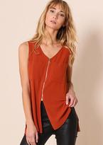 Missy Empire Hailey Rust Zip Up Split Detail Sleeveless Top