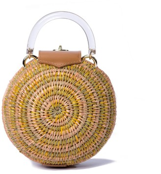 Khokho Woven Grass & Leather Round Ball Bag in Mustard, Tan & Blush