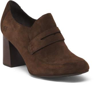 High Heel Suede Loafers