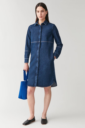 Cos Topstitched Organic Cotton Denim Dress