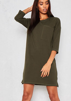 Missy Empire Alyx Green T-Shirt Pocket Front Mini Dress