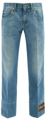 Gucci Logo-patch Flared Jeans - Blue