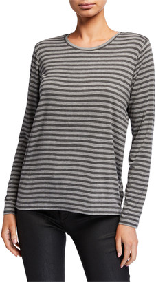 Majestic Filatures Striped Crewneck Long-Sleeve Inverted Back Pleat Tee