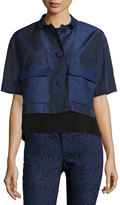 Lafayette 148 New York Zelda Short-Sleeve Cropped Topper Jacket, Nu Blue