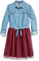 GUESS Layered-Look Denim & Chiffon Dress, Big Girls (7-16)