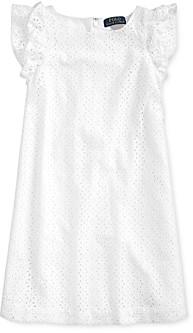 Ralph Lauren Girls' Cotton Eyelet Embroidered Dress - Little Kid
