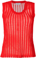 Carven ribbed top - women - Cotton/Spandex/Elastane - M