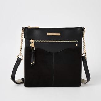 River Island Black zip front cross body messenger bag