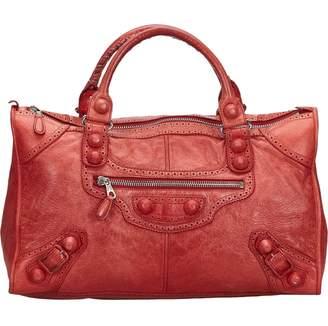 Balenciaga Work Burgundy Leather Handbags