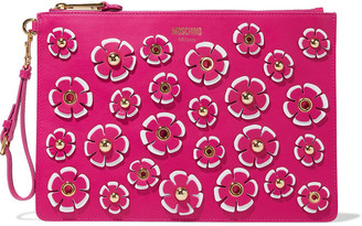 Moschino Floral-appliqued Leather Clutch