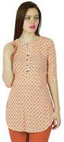 Bimba Women Short Cotton Tunic Orange Kurta kurti short Sleeve