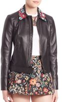 RED Valentino Appliqued Leather Jacket