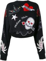 Philipp Plein appliquéd sweatshirt - women - Cotton/Modal - XS