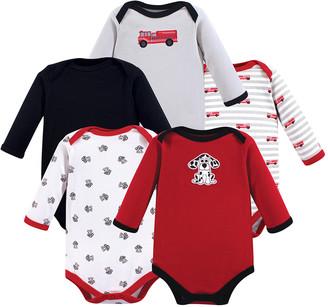 Luvable Friends Boys' Infant Bodysuits Fire - Red & Gray Fire Truck Five-Piece Bodysuit Set - Newborn & Infant