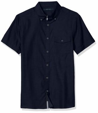 Perry Ellis Men's Short Sleeve Solid Twill Untucked Shirt