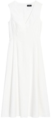 Theory Seamed Linen-Blend Midi Dress