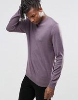 Asos Crew Neck Jumper In Purple Nep Cotton