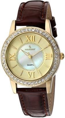 Peugeot Women's Gold Crystal Bezel Brown Leather Strap Watch