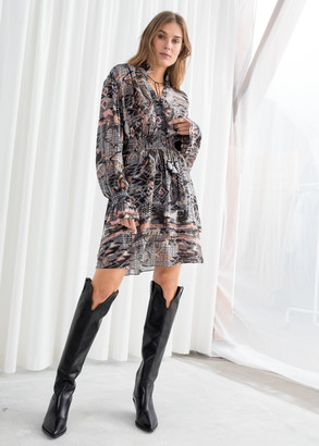 And other stories Southwest Print Ruffled Mini Dress