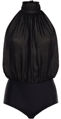 Emilio Pucci Silk-chiffon And Stretch-jersey Halterneck Bodysuit