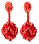 Oscar de la Renta Beaded Chevron Ball Drop Clip-On Earrings