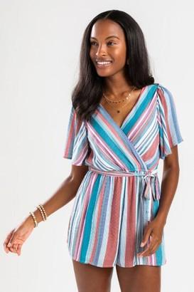 francesca's Delaney Striped Kimono Romper - Multi