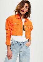 Missguided Orange Cropped Denim Trucker Jacket, Orange