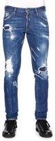 DSQUARED2 Cool Guy Destroyed Patchwork Denim Jeans, Blue