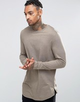 Asos Longline Long Sleeve T-Shirt With Curve Hem And Zip In Brown